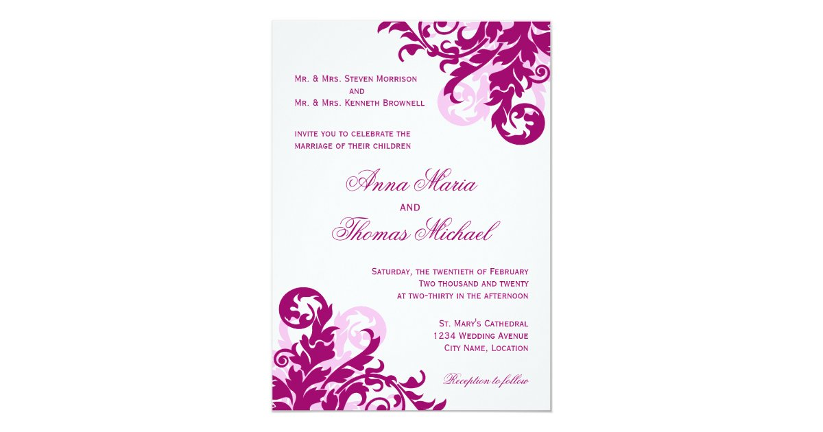 Flourish Wedding Invitations: Magenta Flourish Wedding Invitation