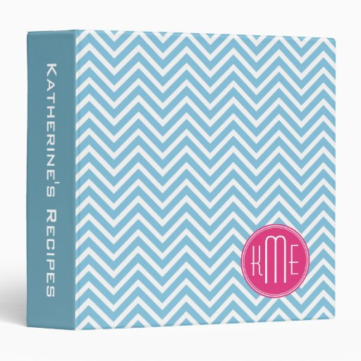 Magenta Pink Monogram With Light Blue Chevron 3 Ring