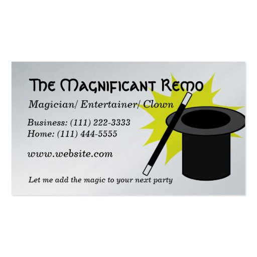 magic me magician business card template zazzle