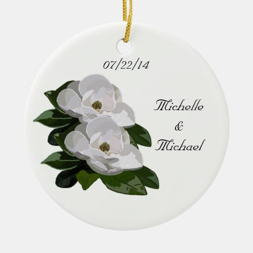Save The Date Wedding Floral Ornament Wedding Floral: Magnolia Flowers Save The Date Wedding Ornament