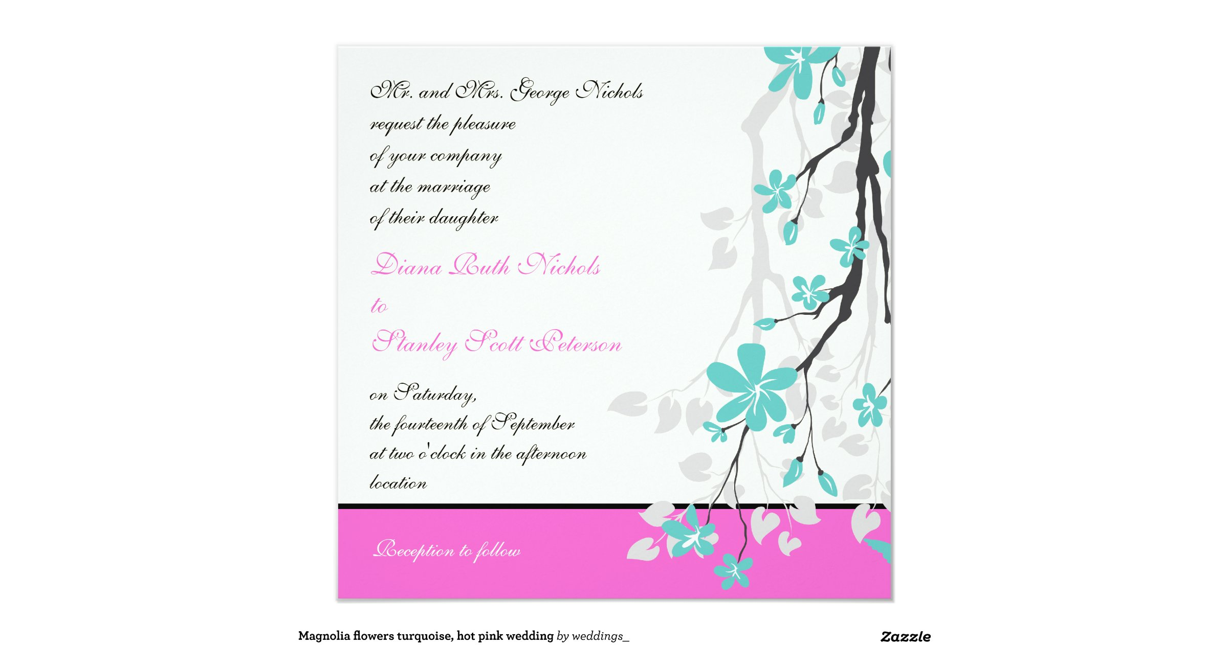 Turquoise And Pink Wedding Invitations: Magnolia_flowers_turquoise_hot_pink_wedding_invitation