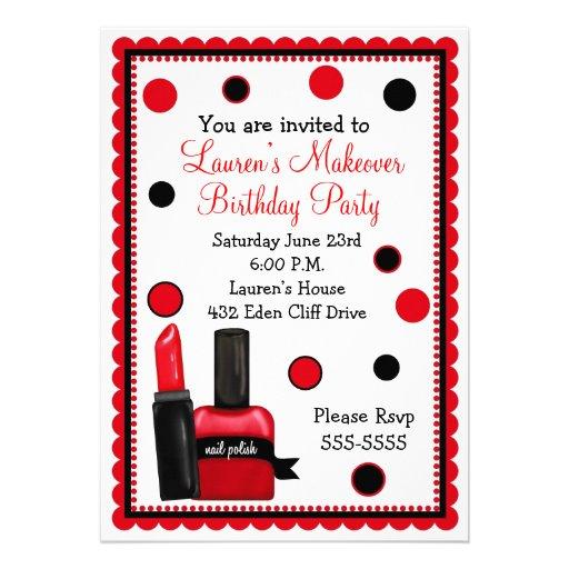 "Make-up Make Over Birthday Invitations 5"" X 7"" Invitation"