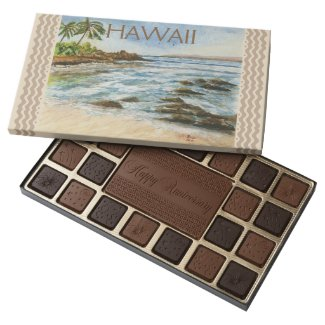 Makena Cove Hawaii Beach Fine Art Watercolor 45 Piece Assorted Chocolate Box