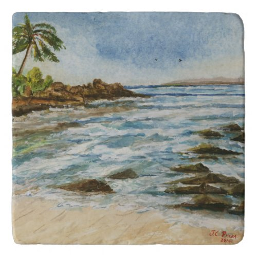 Makena Cove Hawaii Beach Fine Art Watercolor Trivets