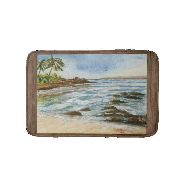 Makena Cove Hawaii Beach Fine Art Watercolor Bath Mats