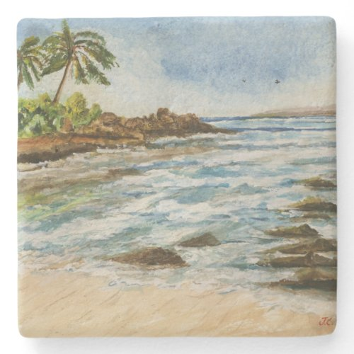 Makena Cove Hawaii Beach Watercolor Stone Beverage Coaster