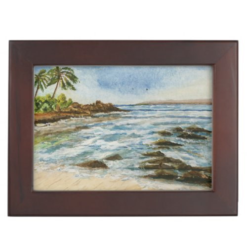 Makena Cove Hawaii Beach Watercolor Keepsake Box