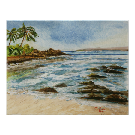 Makena Cove Hawaii Beach Watercolor Poster