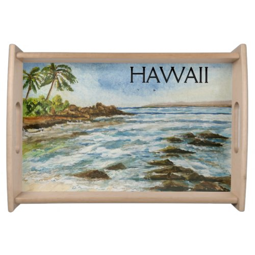 Makena Cove Hawaii Beach Watercolor Service Trays