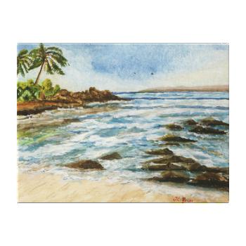 Makena Cove Hawaii Beach Watercolor Wrapped Canvas Canvas Print
