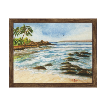 Makena Cove Hawaii Beach Watercolor Wrapped Canvas Gallery Wrap Canvas