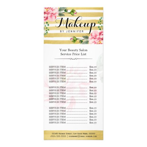 Makeup artist script classy floral gold striped business for Massage price list template