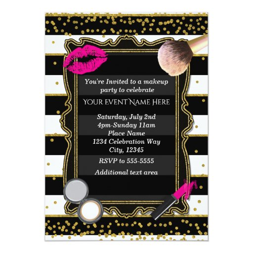Makeup Party Gold Confetti Amp Stripes Glamour Card Zazzle