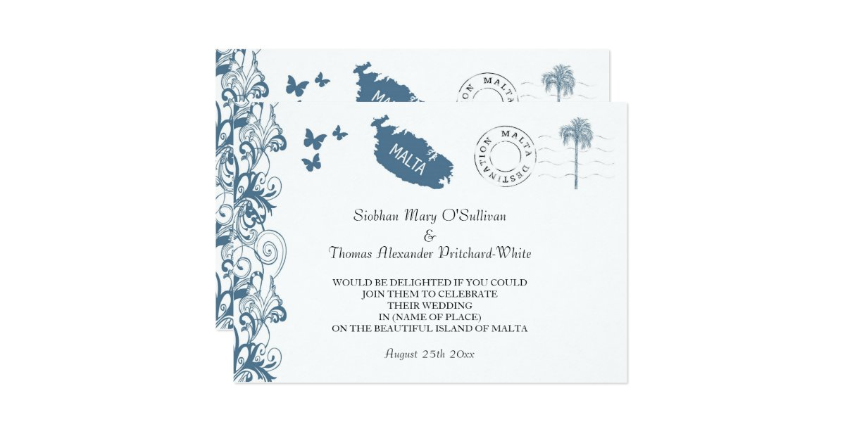 Wedding Invitations Malta: Malta Wedding Invitation In Malta Blue