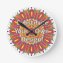 Mandala Coloring Page Colorful Custom Round Wallclocks