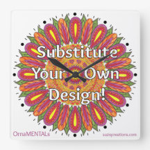 Mandala Coloring Page Colorful Custom Square Wallclocks