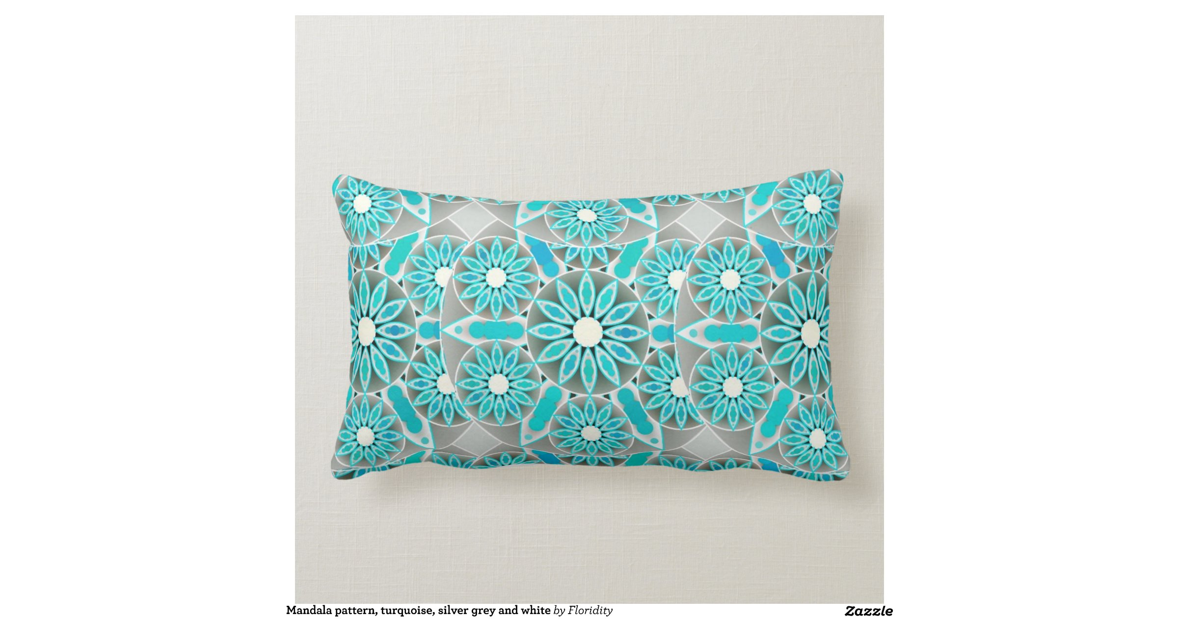 Mandala Pattern, Turquoise, Silver Grey And White Throw