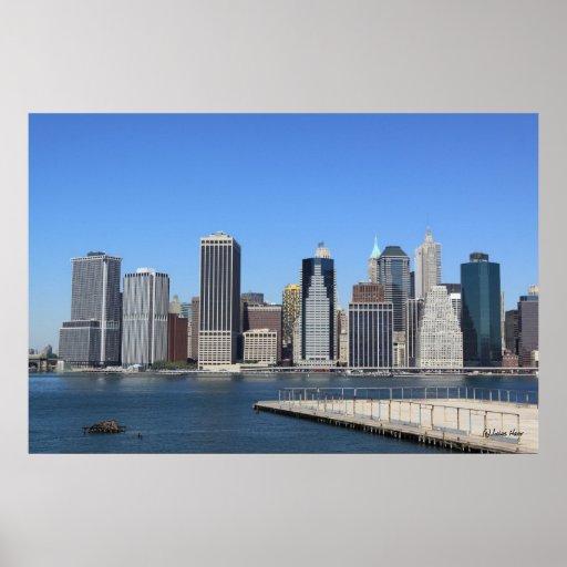 manhattan skyline new york city poster zazzle. Black Bedroom Furniture Sets. Home Design Ideas