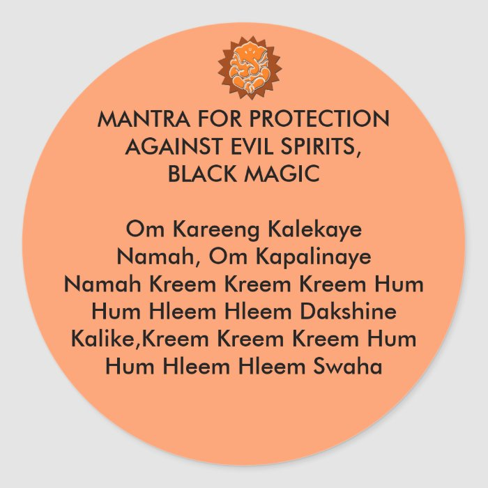 MANTRA FOR PROTECTION AGAINST EVIL SPIRITS, BLACK STICKERS on PopScreen