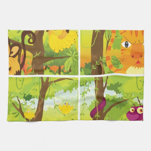 Living Quarters Washcloths: Many Animals Living In The Jungle Hand Towels