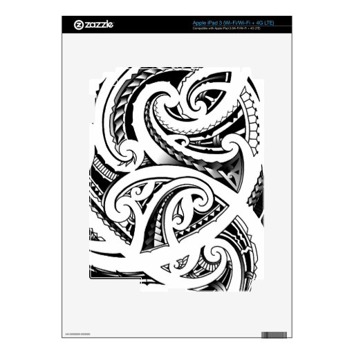 Maori Tattoo Design With Koru/fern Pattern IPad 3 Skin