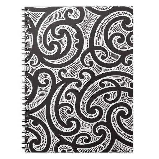 Maori Tribal Tattoo Pattern Spiral Note Book