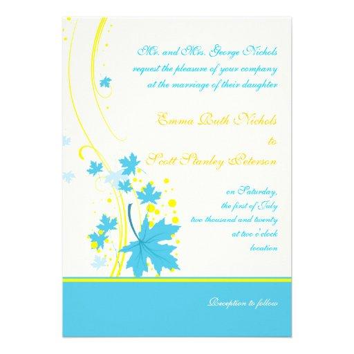 "Maple leaves turquoise yellow wedding invitation 5"" x 7 ..."