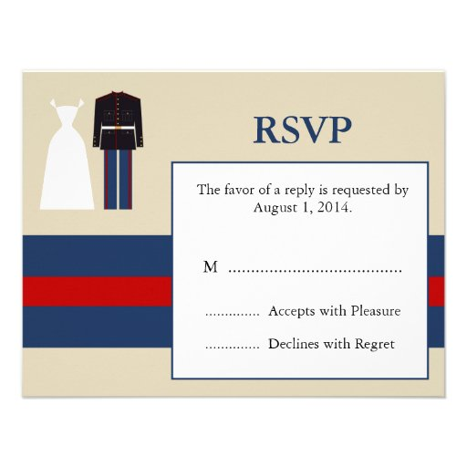 "Marine Wedding Invitations: Marine Wedding Invitation RSVP Card 4.25"" X 5.5"