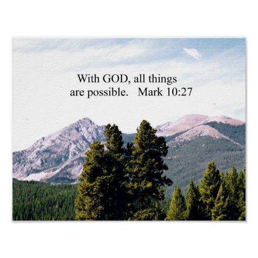 Mark 10 27 With God All Things Are Possible Print Zazzle