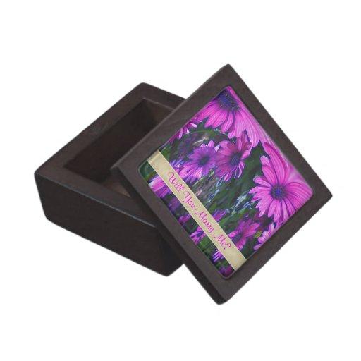 Marry Me Purple Daisies Engagement Ring Box Premium