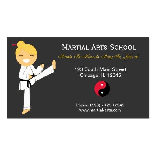 martial arts school double sided standard business cards. Black Bedroom Furniture Sets. Home Design Ideas