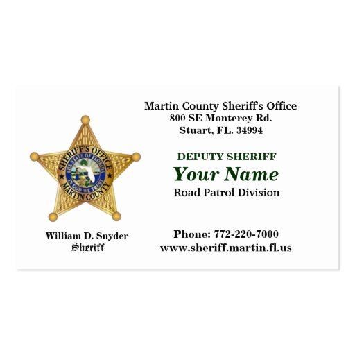 Martin County Sheriff's Office Bussiness Card. Business ...