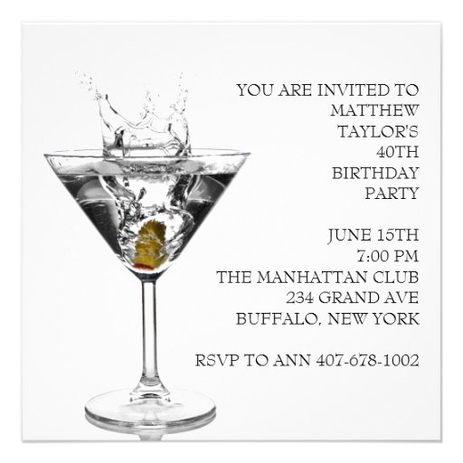 Martini Glass Mans Birthday Party 5.25x5.25 Square Paper