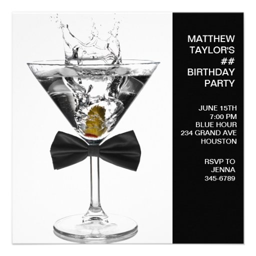 Martini Glass Mans Any Number Birthday Party Personalized