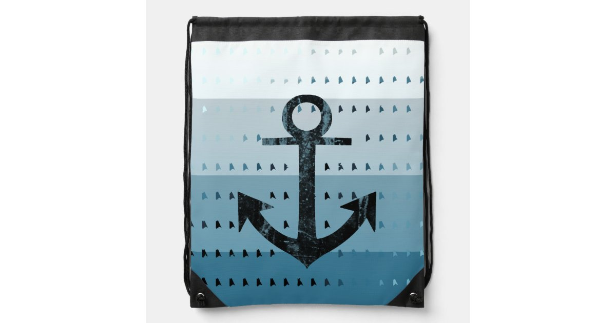 Masculine Blue Anchor Nautical Pattern Design Drawstring ...