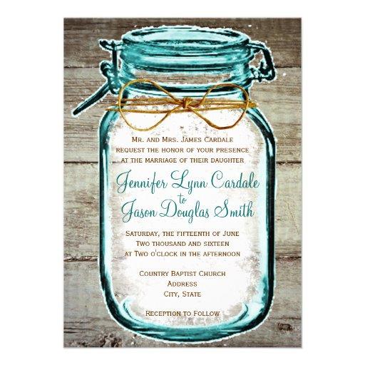 "Wedding Invitations Mason Jar: Mason Jar Barn Wood Rustic Wedding Invitations 4.5"" X 6.25"