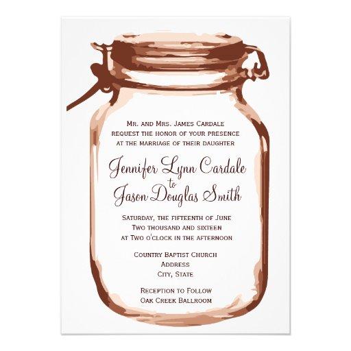 Wedding Invitations Mason Jar: Mason Jar Country Rustic Wedding Invitations Custom