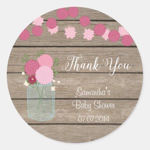 Mason Jar Flowers Baby Shower Sticker Zazzle