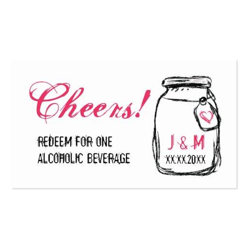 Mason Jar & Pink Heart Wedding Drink Ticket Business Cards | Zazzle