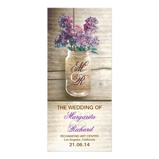 Mason Jar With Lilacs Rustic Wedding Programs Rack Card