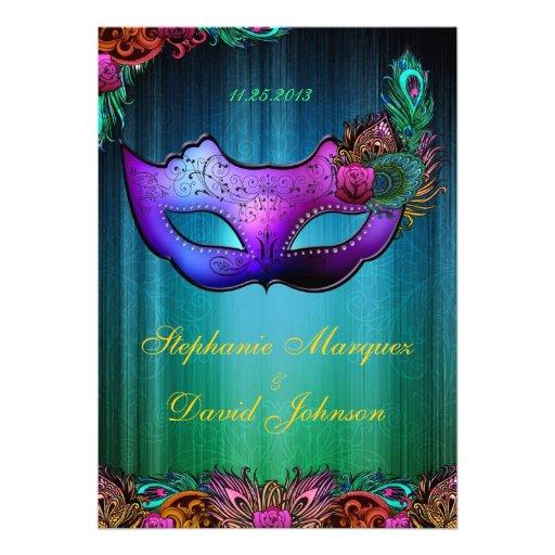 "Masquerade Wedding Invitations: Masquerade Peacock Mask Wedding Invitation 5"" X 7"