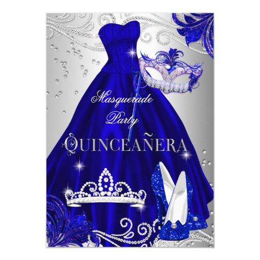 Masquerade Quinceanera Blue Silver Dress Heels Card Zazzle