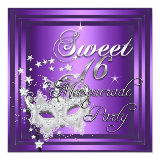 Personalized Sweet 16 Masquerade Invitations
