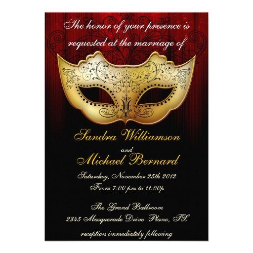 "Masquerade Wedding Invitations: Masquerade Wedding Celebration Fancy Invitation 5"" X 7"