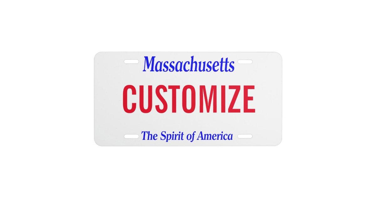 Massachusetts Custom License Plate Zazzle