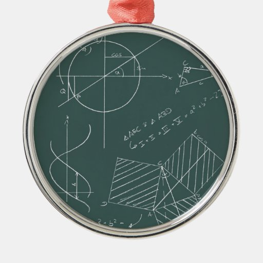 Math blackboard round metal christmas ornament | Zazzle