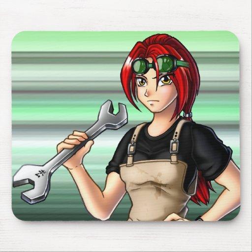 Anime Girl Mouse Pad: Mechanic Anime Girl Mouse Pad