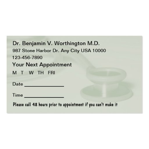 Medical appointment cards double sided standard business for Medical appointment card template free