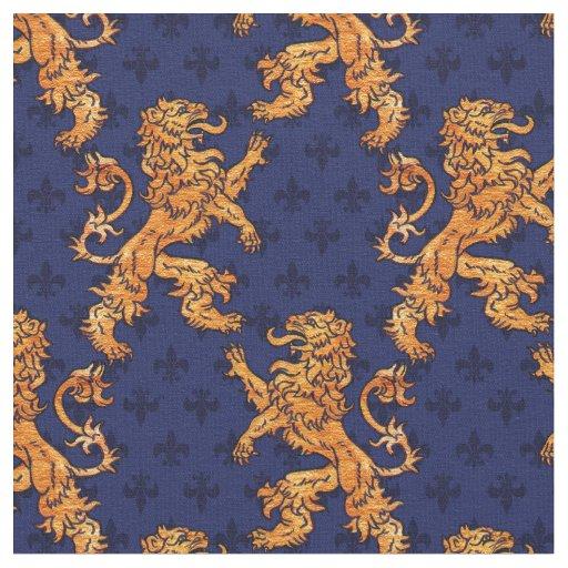 Medieval Gold Lion Blue Fleur De Lis Fabric Zazzle