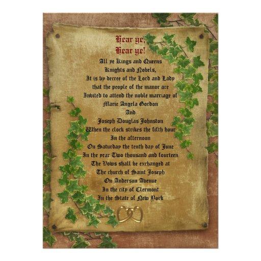 "Medieval Wedding Invitations: Medieval Wedding Invitation Large Format 6.5"" X 8.75"